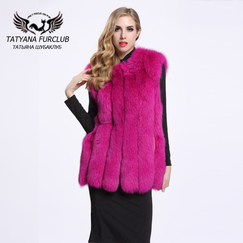 Brand Hot Sale Women Genuine Fox Fur Vests Gilets Fashion ...