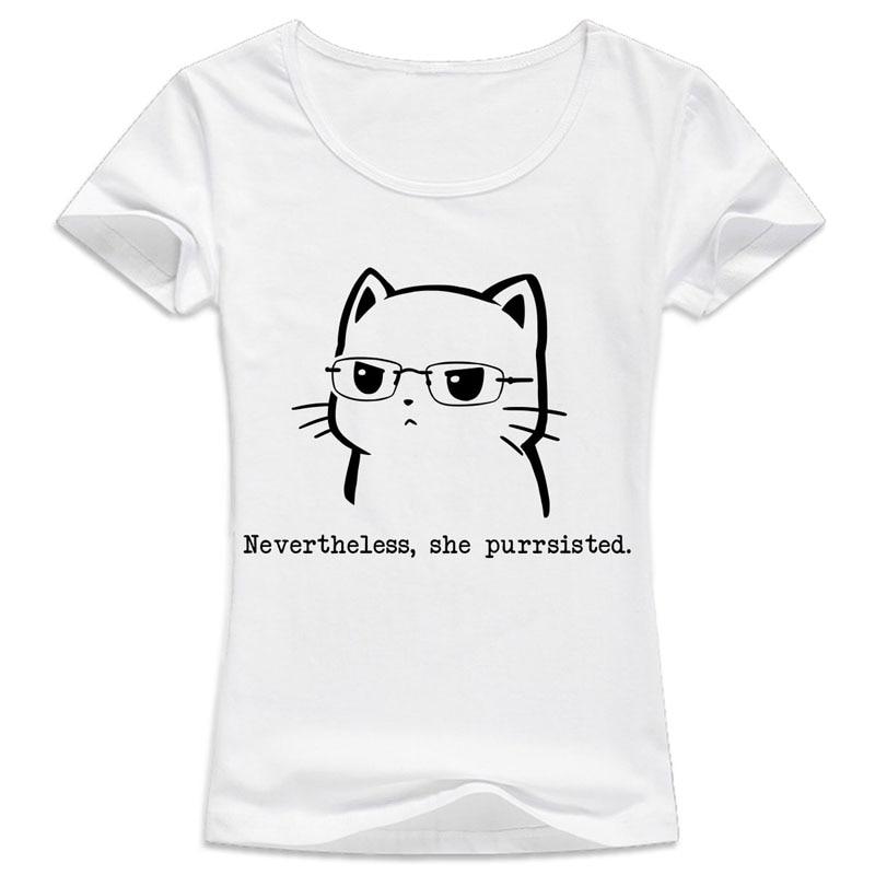 cat t shirt female Women Short Sleeve funny kawaii cat Print girl Tshirt O-neck white Casual women T-shirt harajuku tops