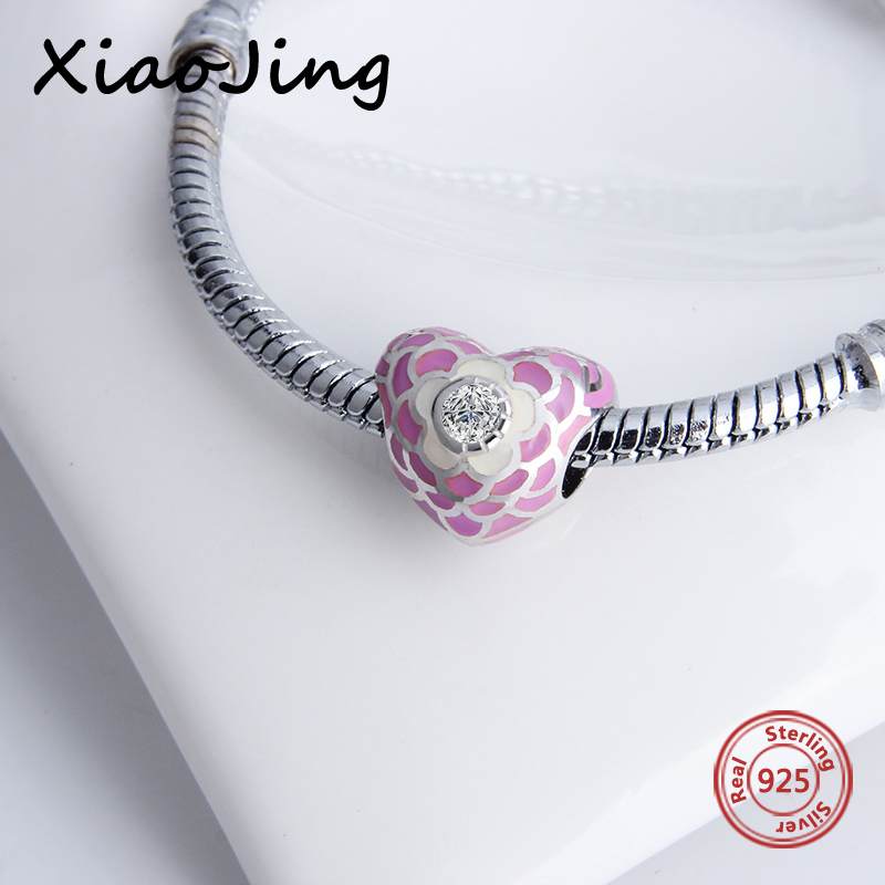 High Polishing Silver 925 Original Pink Enamel Heart Charms Beads Fit Authentic pandora Bracelets Charms Jewelry Lover Gifts in Beads from Jewelry Accessories