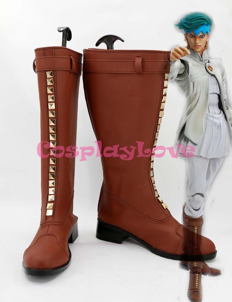 Newest Custom Made Japanese Jojo Bizzare Adventure Rohan Kishibe Cosplay Shoes Long Boots For Christmas Halloween Festival цена