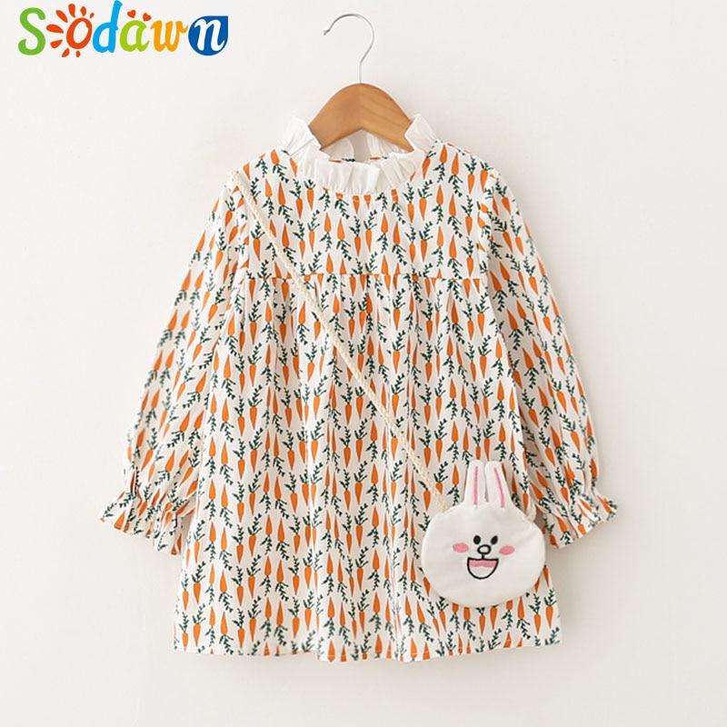 Sodawn 2018 Spring New Children Clohting Cartoon Design Carrot Bunny Baby Girls Dress+Backpack Girls Clothes Kids Clothing