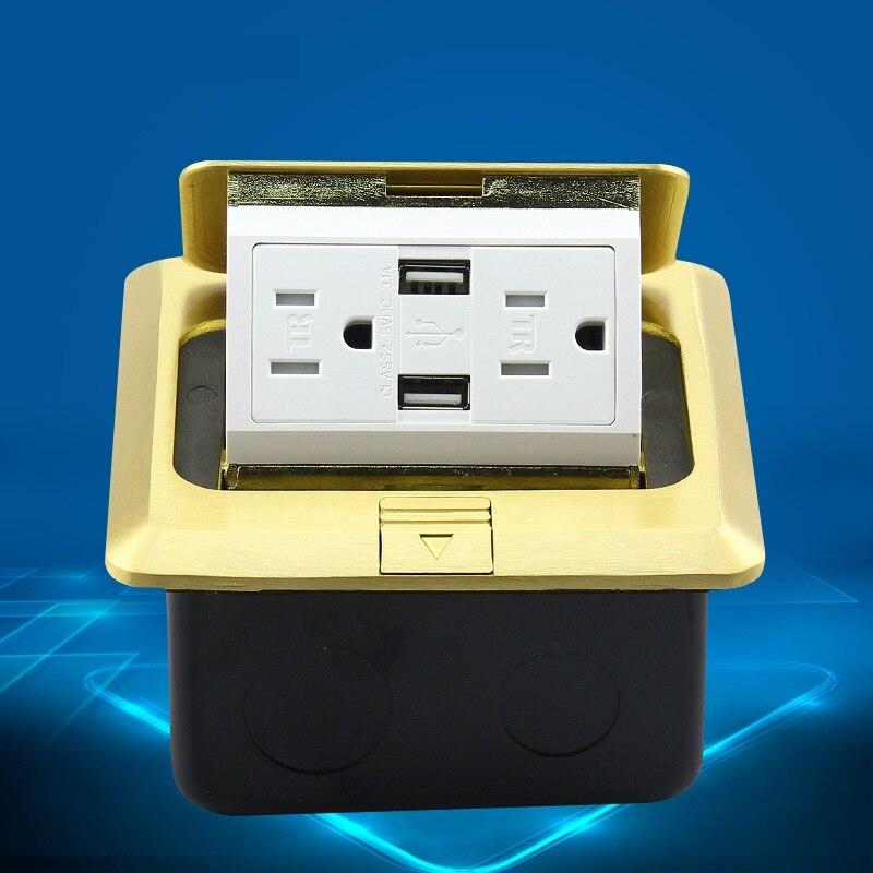Prises de terre Standard américaines avec Double prises USB 15A 125 V en alliage de cuivre pour hôtel et hôpital et usage domestique
