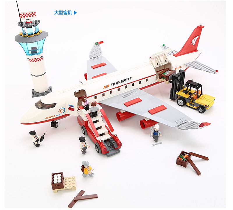 GUDI Legoingly City Airplane Figure Blocks 856pc Bricks 62cm Long Building Block Classic Birthday Gift Toys For Children gudi block city large passenger plane airplane block 856 pcs bricks assembly boys building blocks educational toys for children