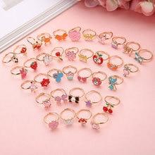 6 шт. трендовые детские милые регулируемые Мультяшные кольца с кристаллами, Эмалированные кольца для девочек, ролевые игры, кольца для детей