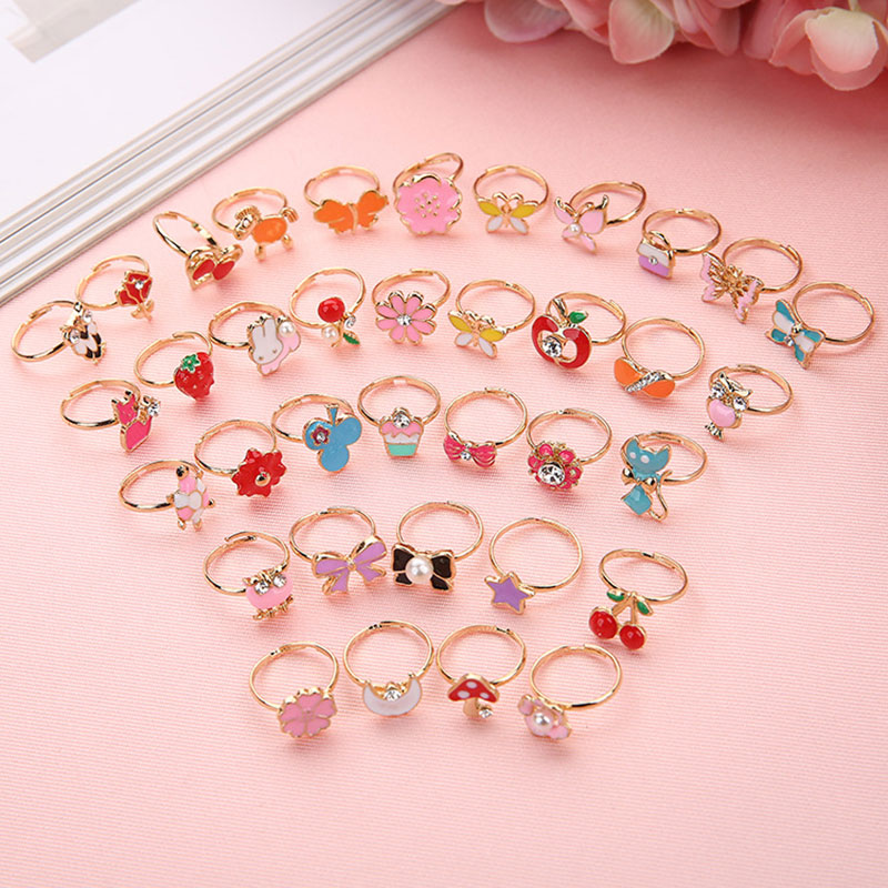 6PCS Trendy Children Kids Sweet Cute Adjustable Cartoon Crystal Alloy Animal Enamel Rings Girls Pretend Play Rings For Kids