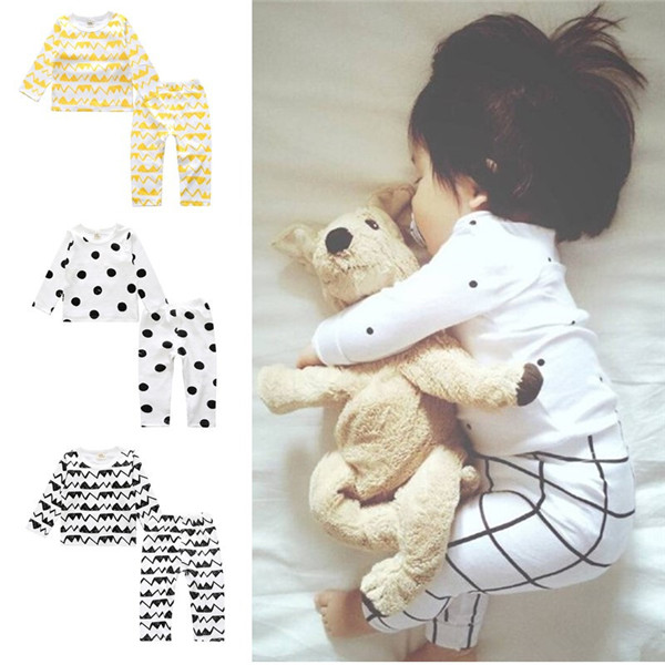 2017 Autumn Baby's Set Boys Girls Clothing Set Infant Baby Pajamas cartoon Cotton Long Sleeve Shirt+Pant 2pcs Children Suit hhtu 2017 new infant baby girl boys sleep clothing set children cute cartoon pajamas suit newborn kids soft cotton underwear
