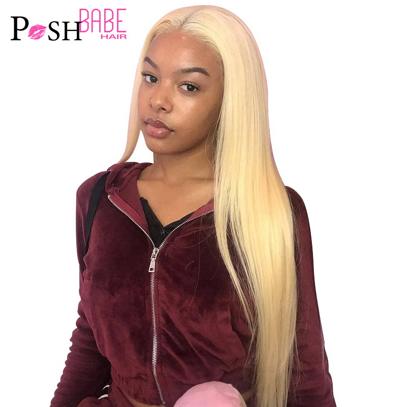 613 Honey Blonde Color Remy Brazilian Straight Lace Front Human Hair Wig 8 - 26 inch 1B 613 Ombre Frontal Wigs for Black Women(China)