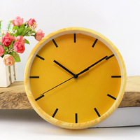 New Creative Simplicity Pure Color Round Pastoral Style Pointer Wallclocks Hanging Bell Ornaments Home Living Room