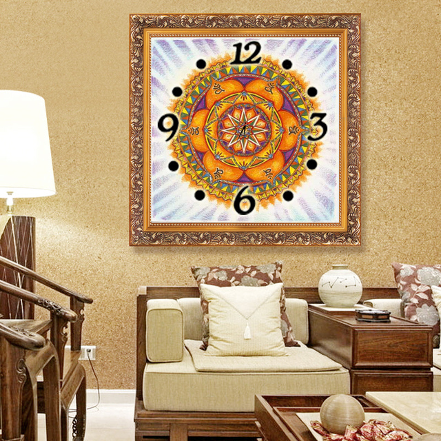 Flower home decor wall clock wall watches Diamond Embroidery decoration Diamond Painting Cross Stitch painting calligraphy