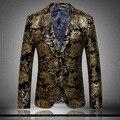 Mens Paisley Boda Blazers Blazers Trajes Chaquetas de Terciopelo Barroco de Oro Para Los Hombres de Lujo Royal Vestido de Cena Escenario Social Club