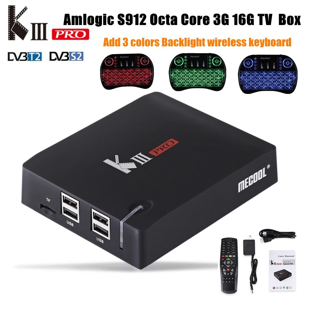 S912 MECOOL MATAR Pro Amlogic Octa Núcleo Android 6.0 Caixa De TV 3G RAM DDR3 16G ROM 4 K WiFi Bluetooth4.0 HDMI 2.0 64Bit Media Player