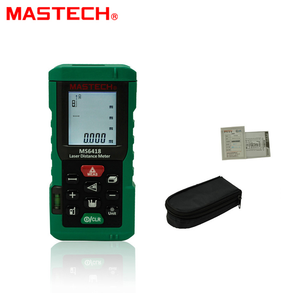 MASTECH MS6418 Laser Distance Meter 80M Distance Measure Digital Range Finder With Bubble level laser range finder 40m 60m 80m 100m digital laser distance meter tape area volume angle engineer measure construction tools