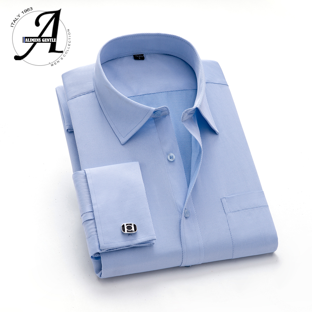 Alimens 13XL 8XL 7XL Big Size Slim Fit Male Casual Shirts Brand Camisa Masculina Long Sleeve French Cuff Dress Shirts For Men 2