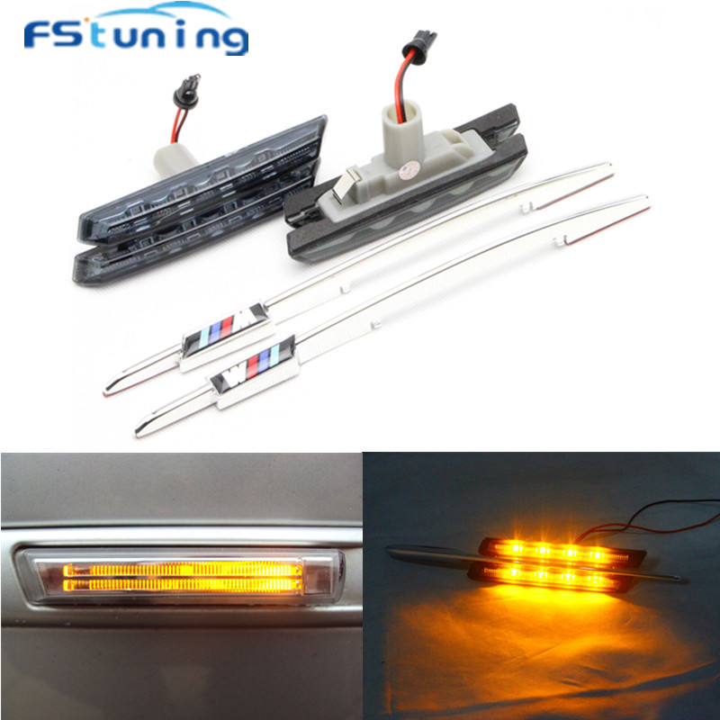 FStuning LED side Marker light Lamp Smoked lens for BMW 3 Series E46 2D 4D 5D Amber Car led Side marker light lamp with M logo 2 x t10 led w5w canbus car side parking light bulbs with projector lens for mercedes benz c250 c300 e350 e550 ml550 r320 r350