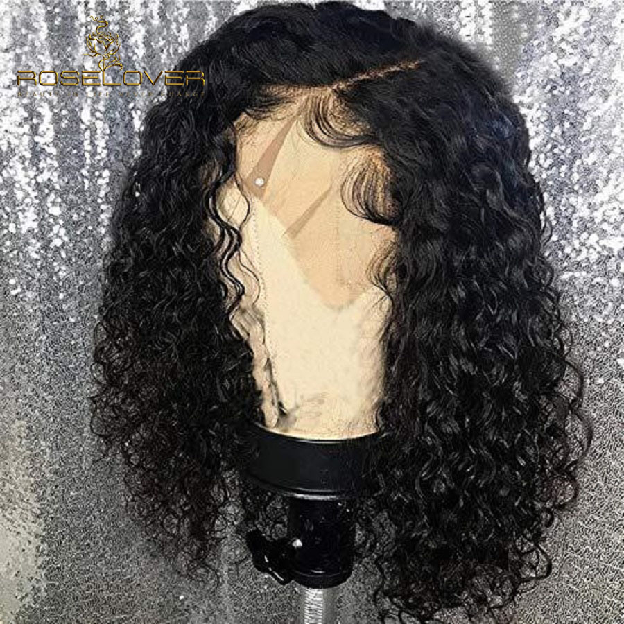 ROSELOVER 13*6 Short Curly Human Hair Bob Wig Lace Front Human Hair Wigs For Black Women Brazilian Remy Pre Pluck Hairline