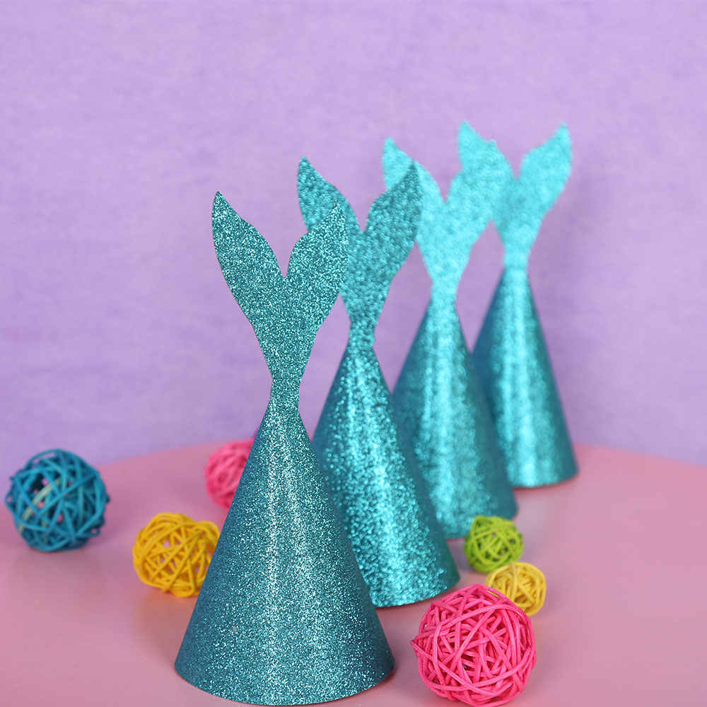 6pcs/set Mermaid Wedding Theme Party Hats Kids Adult Happy Birthday Party Hats Baby Shower Decorations Party Supplies MZ018