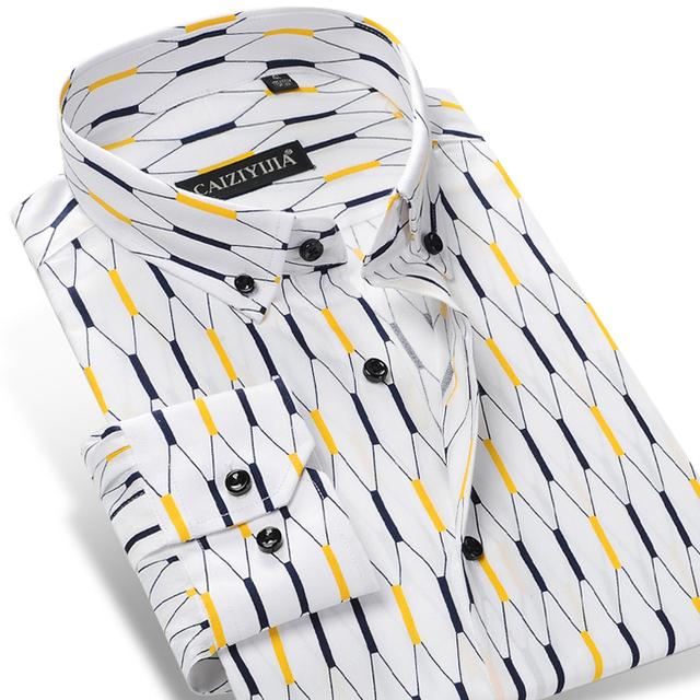 Caiziyijia 2017 contraste xadrez argyle dos homens camisas casuais 100% algodão de manga longa soft comfort slim-fit botão-camisa de luxo para baixo