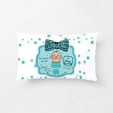 Детская Наволочка на заказ, милая синяя Наволочка на подушку, квадратная/прямоугольная полиэфирная детская наволочка, Чехол на подушку для мальчиков и девочек, характеристики рождения