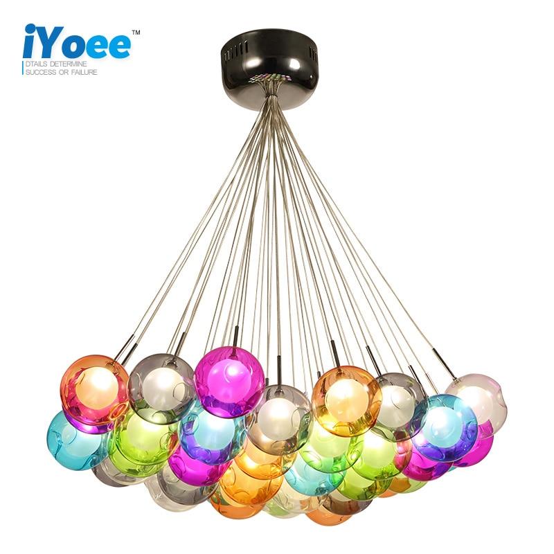 Design créatif moderne LED coloré boule de verre pendentif lumières lampes pour salle à manger salon Bar LED G4 96-265V lumières en verre