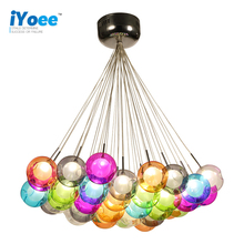 Creative Design Modern LED Colorful Glass Ball Pendant Lights Lamps for Dining Room Living Bar Led G4 96-265V