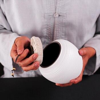 Ceramic Canister Sets | Japanese Style Vintage Coarse Pottery Tea Cans White Pottery Tea Caddy Ceramic Kung Fu Tea Set Sealed Tea Canister Spice Nut Jar