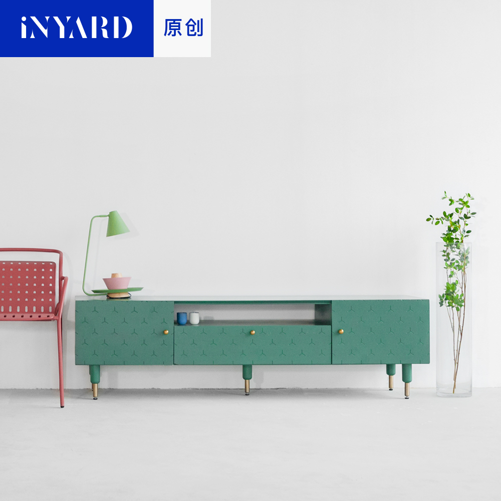 [InYard original] green and white wood, metal handles, TV cabinets, Nordic fashion home living room, storage cabinets