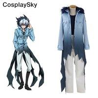 Servamp Sleepy Ash Vampire Cosplay Costumes Hooded Coat Blue Shirt White Pants Halloween Uniform For Men
