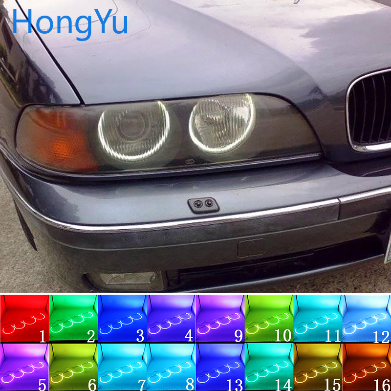 For BMW 1995-2000 E39 5 Series Pre-facelift Accessories Headlight Multi-color RGB LED Angel Eyes Halo Ring Eye RF Remote Control