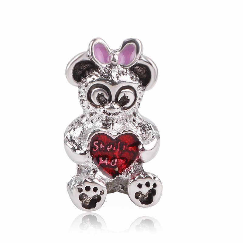 Ranqin 2019 ใหม่ Retro Silver Snow ลูกปัด Potted Key จี้ Mickey Series Fit Charms สร้อยข้อมือ DIY ผู้หญิงเครื่องประดับ