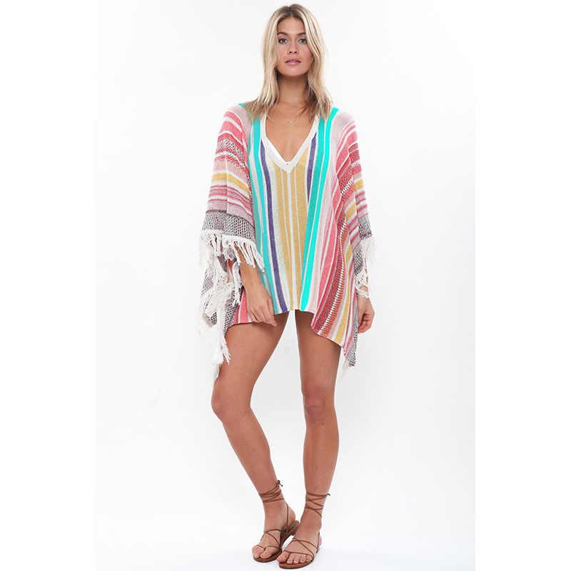 2020 pareo beach wear verão cobrir maiô avental borla v pescoço vestido de malha bikini cover ups banho feminino robe túnica