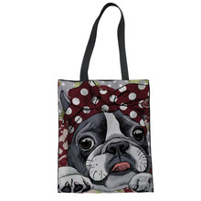 FORUDESIGNS Shopping Bag Cotton Boston Terrier Printed Women Bag Foldable Recyclable Packing Bag Reusable Grocery ECO Bags Girls(China)