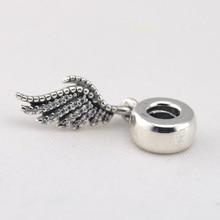 Nouveau 100% Sterling-Argent Perles Plume Charmes Avec CZ Pierres Femmes DIY De Mode perles convient charms bracelets