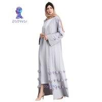 New Fashion Muslim Abaya Saudi Women Dress Flower Cardigan Muslim Robe Turkish Islam Muslim Abaya Dress vestidos