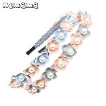 ncmama Hair Accessories Korean Flower Hairband for Girls Bows Hoop Kids Fashion Boutique Pearl Elastic Head Band Headwear