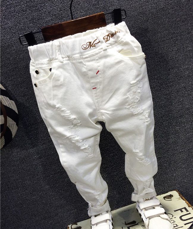 Children Broken Hole Pants Trousers 2018 Baby Boys Jeans Brand Fashion Autumn 2-7Y White Kids Trousers Children Clothing AQ811