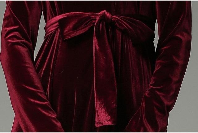 Autumn Winter Velvet Lace Stitching Long Elegant Robe Dress 4