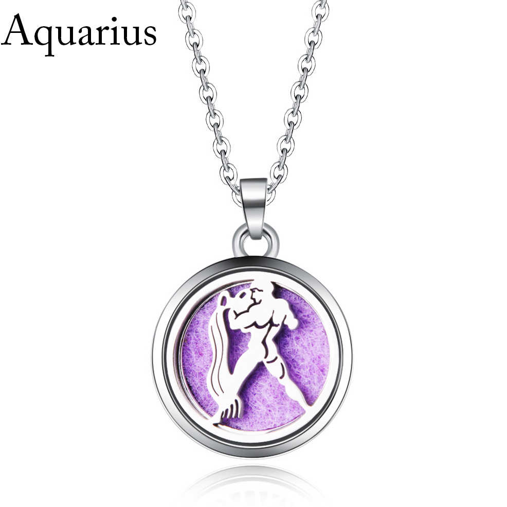 Aquarius image Perfume Box Necklace Stainless Steel Magnetic Aromatherapy Essential Oil Diffuser Aroma Locket Pendant Jewelry