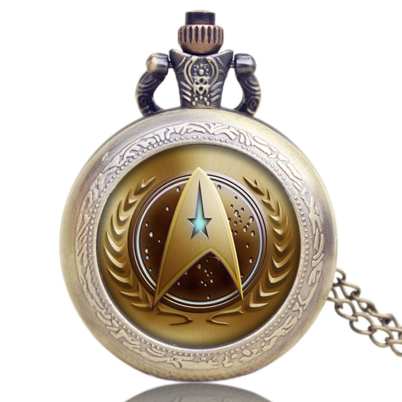 Golden Mystery Star Trek Digital Quartz Pocket Watch Pendant Necklace Chain Gift