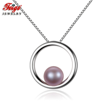 FEIGE Simple style 925 Sterling Silver Pendant Necklace 7-8mm Purple Natural Freshwater Pearl Necklace for Women Fine Jewelry feige simple style real 925 sterling silver pendant necklaces 7 8mm white freshwater pearl necklace for women fine jewelry