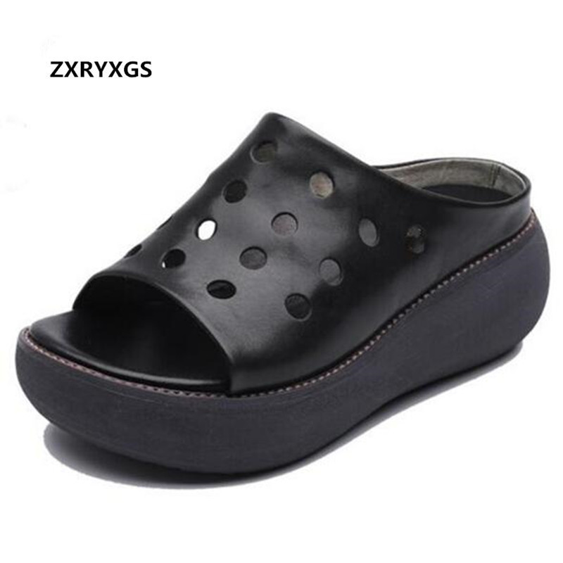 ZXRYXGS Brand Sandals Platform Slippers Open Shoes Woman New 2019 Hollow Genuine Leather Sandals Wedges Sandals Women Slippers