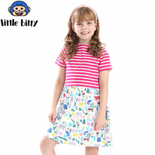 Girls Summer Dress Striped 2018 Brand Little Girls Dresses Animal Applique Tunic Costume for Kids Clothes Princess Dress