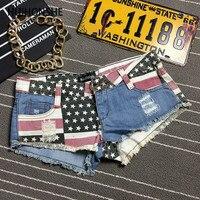 HUIHONSHE Tamanho S-2XL Verão Estilo Sexy Americano EUA Bandeira Impressão Mini Shorts Jeans Hot Denim Cintura Baixa Skinny Jeans Shorts mulheres