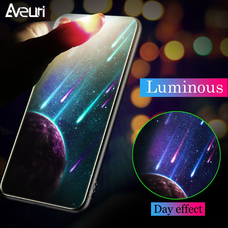Aliexpress.com : Buy Luminous Starry Tempered Glass Phone Case For Huawei P20 Lite Tempered
