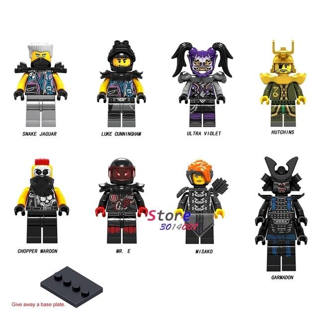 Único Cobra Ninja Jaguar Lucas Chopper Maroon Hutchins Sr Cunningham Ultra Violeta E Misako Garmadon blocos de construção de brinquedos