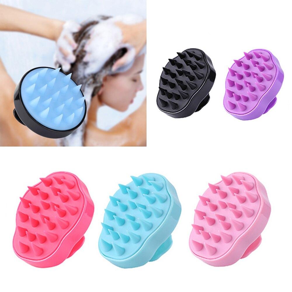 Silikon kafa vücut derisi masaj fırça tarak şampuan saç yıkama tarağı duş fırçası banyo Spa zayıflama masaj fırçası