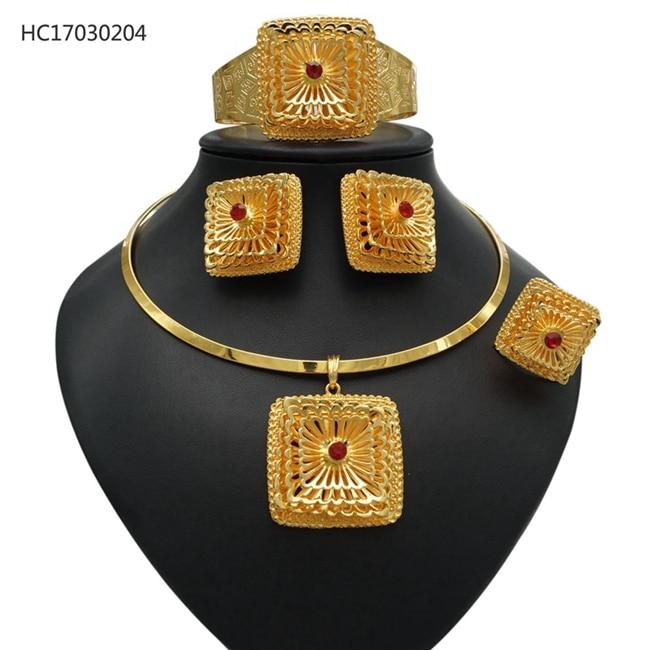 YULAILI Ethiopian Jewelry Pure Gold Color Jewelry Set Habesha Eritrean Big Pendant Bangle Earrings Ring Women Wedding Gift