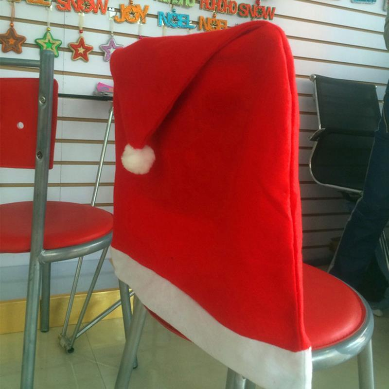24pcs Lot Christmas Chair Cover 5065cm Slipcover Santa Claus Hat Design Antimacassar