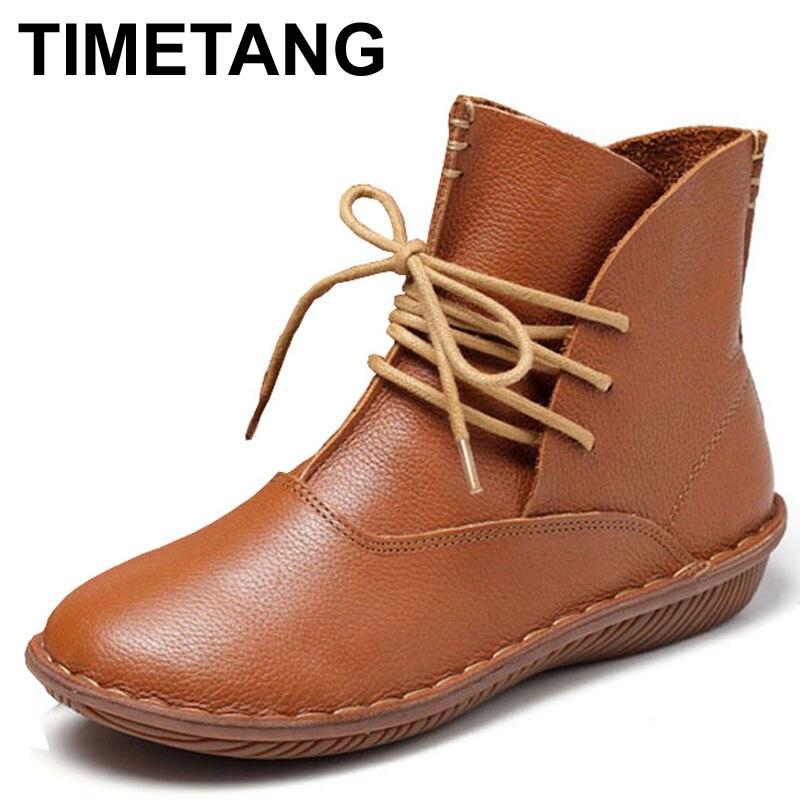 TIMETANG Whensinger Full Grain หนังแฟชั่นรองเท้าผู้หญิงรองเท้า Botas Feminina Botines Mujer Scarpe Donna ลูกไม้ขึ้นมือ-ใน รองเท้าบู๊ทครึ่งน่อง จาก รองเท้า บน   1