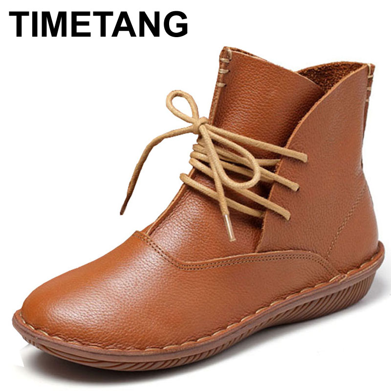 TIMETANG Whensinger Full Grain Leather Fashion Boots Women Shoes Botas Feminina Botines Mujer Scarpe Donna Lace Up Handsewn whensinger 2017 new women fashion boots genuine leather fashion shoes rubber sole hands sewing 2 color 7126