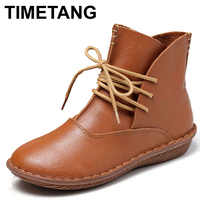 TIMETANG Whensinger Full Grain Leather Fashion Boots Women Shoes Botas Feminina Botines Mujer Scarpe Donna Lace Up Handsewn